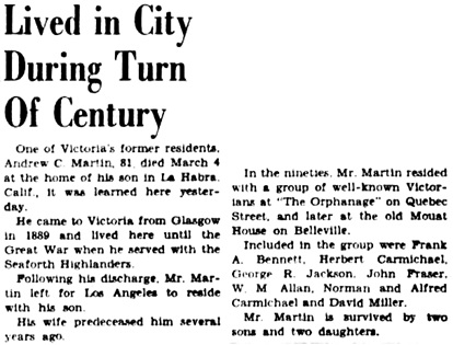 Victoria Daily Colonist, March 13, 1949, page 7, column 4; http://archive.org/stream/dailycolonist349uvic_11#page/n6/mode/1up.