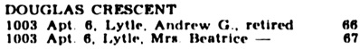 Ancestry.com. Canada, Voters Lists, 1935-1980 [database on-line]. Provo, UT, USA: Ancestry.com Operations, Inc., 2012. Original data: Voters Lists, Federal Elections, 1935–1980. R1003-6-3-E (RG113-B). Library and Archives Canada, Ottawa, Ontario, Canada. Name: Andrew G Lytle; Occupation: Retired; Year: 1953; Location: Vancouver, British Columbia, Canada; Electoral District: Vancouver-Quadra.