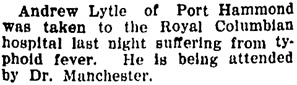 The Daily News (New Westminster), November 6, 1909, page 1, column 4.
