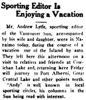 Nanaimo Daily News, July 23, 1930, page 1, column 6.