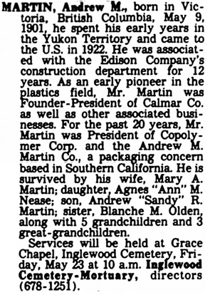 The Los Angeles Times, May 22, 1980, page 24, column 4.