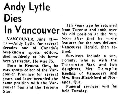 The Ottawa Journal, June 13, 1959, page 1, column 8.