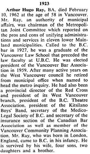 UBC Alumni Chronicle, Summer 1962, page 40; http://www.library.ubc.ca/archives/pdfs/chronicle/AL_CHRON_1962_2.pdf.