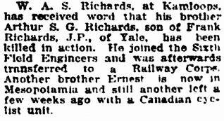 Vancouver Daily World, May 12, 1917, page 19, column 7.