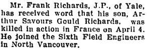 The Chilliwack Progress, May 3, 1917, page 8, column 3.