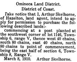 Omineca Herald (Hazelton, British Columbia), April 9, 1910, page 3, column 4; https://open.library.ubc.ca/collections/bcnewspapers/omineca/items/1.0082666#p2z-3r0f:.