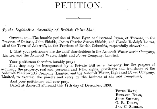 Ashcroft Water-Works Company and Ashcroft Water, Light and Power Company, petition for new company, December 17, 1898; [selected portions of petition]; http://archives.leg.bc.ca/civix/document/id/leg_archives/legarchives/1973441992.