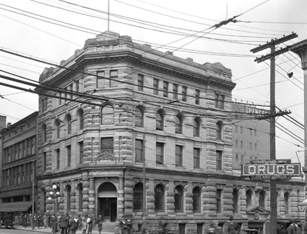 Bank of Montreal and other businesses on Hastings looking west from S.E. corner of Richards; Vancouver City Archives, 1923, Str N60; http://searcharchives.vancouver.ca/bank-of-montreal-and-other-businesses-on-hastings-looking-west-from-s-e-corner-of-richards.