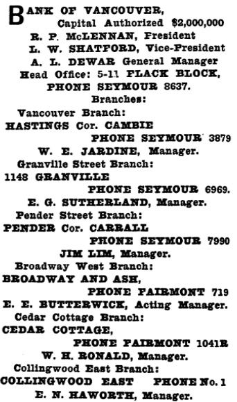 Henderson's Greater Vancouver Directory, 1912, Part 1, page 546.
