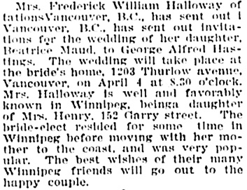 The Winnipeg Tribune, March 11, 1907, page 5, column 2.