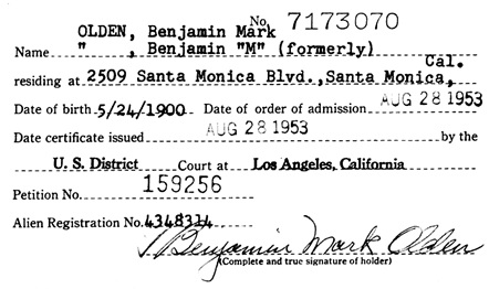 """California, Southern District Court (Central) Naturalization Index, 1915-1976,"" database with images, FamilySearch (https://familysearch.org/ark:/61903/1:1:KXQH-XTP : 11 March 2018), Benjamin Mark Olden, 1953; citing Naturalization, Los Angeles, Los Angeles, California, United States, NARA microfilm publication M1525 (United States: National Archives and Records Service, Los Angeles Branch, 2016)."