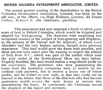 British Columbia Development Association, Limited [excerpts]; The Economist (London, England), December 14, 1907, page 2206.