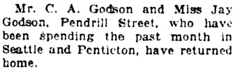 Vancouver Daily World, October 1, 1923, page 7, column 3.