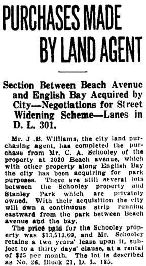 Vancouver Daily World, July 24, 1911, page 11, column 4 [portion of article].