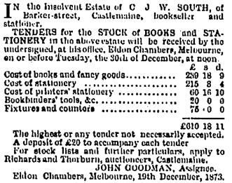The Age (Melbourne, Victoria, Australia), December 29, 1873, page 1, column 6.