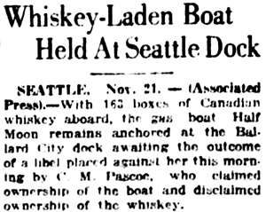 Vancouver Daily World, November 21, 1922, page 1, column 6.