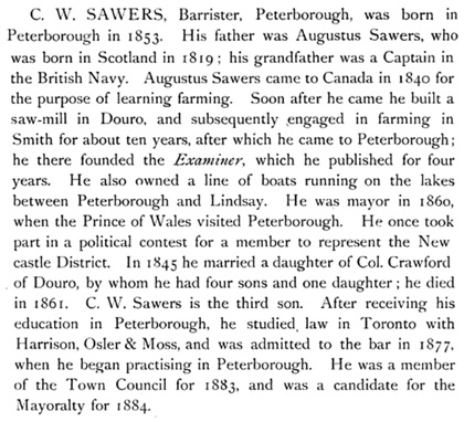 History of the County of Peterborough, Ontario, by Charles Pelham Mulvany and Charles M. Ryan; Toronto, C. Blackett Robinson, 1884, pages 588-589.