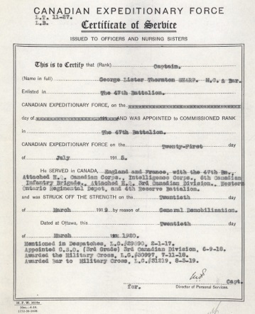 Captain George Lister Thornton Sharp, certificate of service, Canadian Expeditionary Force, digitized service file: 8804-15; http://central.bac-lac.gc.ca/.item/?op=pdf&app=CEF&id=8804-15.
