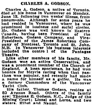 Toronto Globe, July 15, 1926, page 10, column 4.