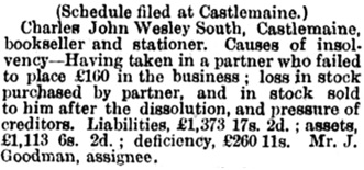 New Insolvents, The Argus (Melbourne, Victoria, Australia), December 4, 1873, page 5; https://trove.nla.gov.au/newspaper/article/5876802/237352.