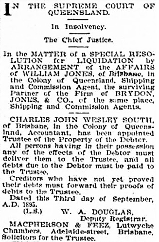 The Brisbane Courier (Queensland), September 7, 1895, page 3, column 3; https://trove.nla.gov.au/newspaper/article/3609039/111928.