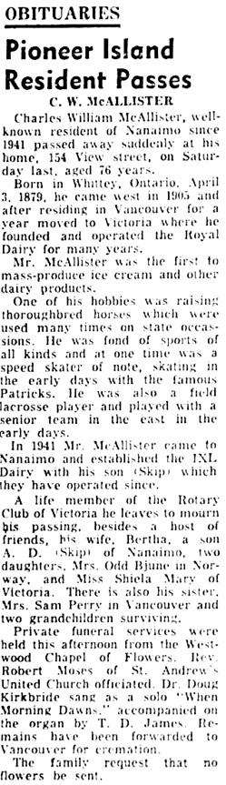 Nanaimo Daily News, May 24, 1955, page 5, column 6.