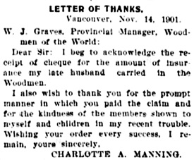 Vancouver Daily World, Tuesday, December 3, 1901, page 8, column 3.