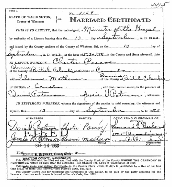 Whatcom County Auditor, Marriage Records, 1891-1995 - Chester Pascoe - Florence Matheson; Record Series: Marriage Records; Collection: Whatcom County Auditor, Marriage Records, 1891-1995; County: Whatcom; Document No.: nwwtcmcv18b_4415; Groom's Name:  Chester Pascoe; Bride's Name: Florence Matheson; Marriage Date: 9/13/1933; Filing Date: 9/14/1933; County: Whatcom; Source: https://www.digitalarchives.wa.gov/Record/View/1E82E6E59B5EA19AF73342B181C5CAD9.