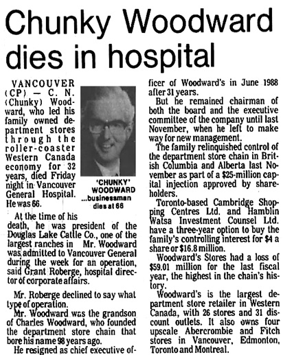 Nanaimo Daily News, April 28, 1990, page 1, columns 4-5.