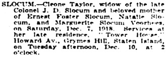 The New York Times, December 8, 1918, page 22, column 6.
