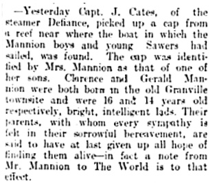 Vancouver Daily World, October 6, 1899, page 8, column 2.