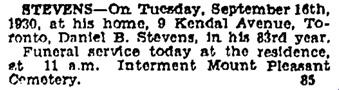 Toronto Globe, September 18, 1930; page 14, column 1.