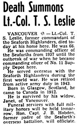 Nanaimo Daily News, January 23, 1951, page 1, column 1.