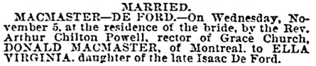 The Baltimore Sun (Baltimore, Maryland), November 12, 1890, page 2, column 2.