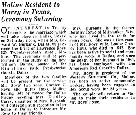 Quad-City Times, (Davenport, Iowa), November 2, 1949, page 6, column 3.