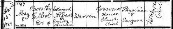 Ancestry.com. West Yorkshire, England, Church of England Births and Baptisms, 1813-1910 [database on-line]. Lehi, UT, USA: Ancestry.com Operations, Inc., 2011. Name: Dorothy Talbot Warren; Age: 0; Record Type: Baptism; Birth Date: 16 Apr 1887; Baptism Date: 8 May 1887; Baptism Place: Hunslet, St Mary the Virgin, Yorkshire, England; Parish as it Appears: Hunslet, St Mary the Virgin; Father: Edward Albert Warren; Mother: Emily Amelia Warren.