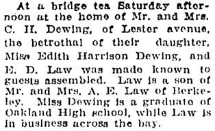 Oakland Tribune, April 9, 1923, page 9, columns 2-3.