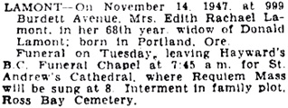 Victoria Daily Colonist, November 16, 1947, page 23, column 1; https://archive.org/stream/dailycolonist1147uvic_12#page/n23/mode/1up.