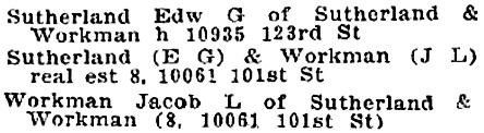 Henderson's Edmonton city directory, 1922, pages 551 and 590; http://peel.library.ualberta.ca/bibliography/2962.16/549.html; http://peel.library.ualberta.ca/bibliography/2962.16/588.html [extracts].
