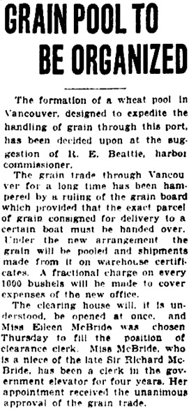 Vancouver Daily World, October 19, 1923, page 12, column 4.
