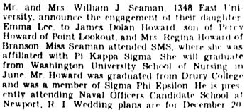 The Springfield News-Leader, Springfield, Missouri, October 28, 1956, page 27, columns 3-4.
