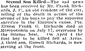 Vancouver Daily World, August 1, 1917, page 14, column 3.