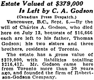 Toronto Globe, September 6, 1926, page 3; column 5.
