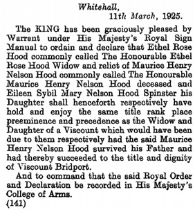 The London Gazette, March 24, 1925, page 2047; https://www.thegazette.co.uk/London/issue/33032/page/2047.
