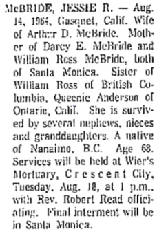 Eureka Humboldt Standard (Eureka, California), Monday, August 17, 1964, page 20, column 8.