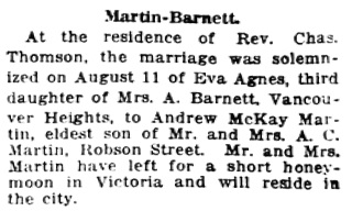 Vancouver Daily World, August 17, 1920, page 6, column 7.