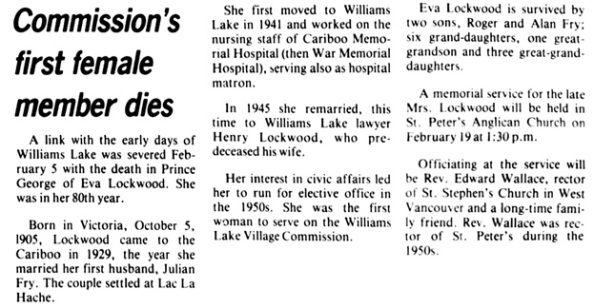 The Tribune (Williams Lake), February 7, 1985, page 12, column 1.