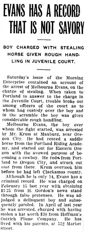 Oregon City Enterprise, March 3, 1911, page 3, column 5; https://oregonnews.uoregon.edu/lccn/sn00063700/1911-03-03/ed-1/seq-3/.