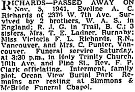 Vancouver Sun, November 6, 1941, page 18, column 1,https://news.google.com/newspapers?id=hDRlAAAAIBAJ&sjid=SIkNAAAAIBAJ&pg=945%2C5160523 [same as death notice in Vancouver Province, November 6, 1941, page 21.]