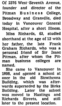 Eveline A.C. Richards, Vancouver Sun, November 5, 1941, page 15, column 5; https://news.google.com/newspapers?id=gzRlAAAAIBAJ&sjid=SIkNAAAAIBAJ&pg=1217%2C5001089.